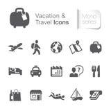Iconos relacionados de las vacaciones y del viaje Foto de archivo