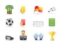 Iconos relacionados del fútbol Fotos de archivo libres de regalías