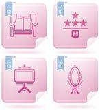 Iconos relacionados del hotel Imágenes de archivo libres de regalías