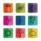Iconos relacionados del tiempo stock de ilustración