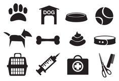 Iconos relacionados del vector del perro Fotos de archivo libres de regalías