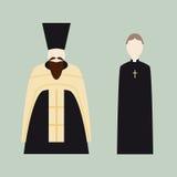 Iconos religiosos con los sacerdotes cristianos Foto de archivo