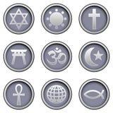 Iconos religiosos en los botones modernos del vector Foto de archivo libre de regalías