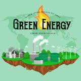 Iconos renovables de la energía de la ecología, concepto alternativo de los recursos del poder verde de la ciudad, tecnología de  Imagen de archivo