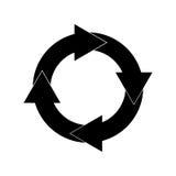 Iconos repetidores negros de la flecha Imagenes de archivo