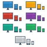 Iconos responsivos del dispositivo del estilo plano del diseño Fotografía de archivo