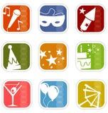 Iconos retros de la mezcla del partido de la Mod foto de archivo