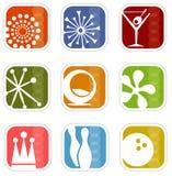 Iconos retros de la Mod (vector) Stock de ilustración