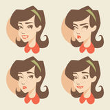 Iconos retros de la muchacha/de las emociones libre illustration