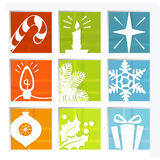 Iconos retros de la Navidad Imágenes de archivo libres de regalías
