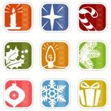 Iconos retros de la Navidad de la Mod Foto de archivo libre de regalías
