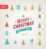 Iconos retros de la Navidad, logotipo, elementos y stock de ilustración