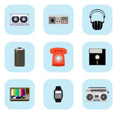 Iconos retros de la tecnología Fotos de archivo libres de regalías