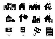 Iconos retros de las propiedades inmobiliarias Fotos de archivo libres de regalías