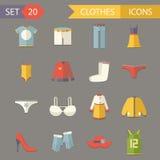 Iconos retros de los accesorios de los símbolos de Clothesl fijados Fotos de archivo libres de regalías
