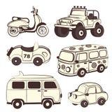 Iconos retros de los coches fijados Fotografía de archivo