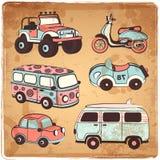 Iconos retros de los coches fijados Foto de archivo