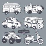 Iconos retros de los coches fijados Foto de archivo libre de regalías