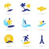 Iconos retros de los deportes del verano, del recorrido y de agua Imagen de archivo