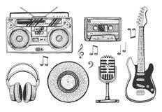 Iconos retros de los objetos de la música fijados stock de ilustración