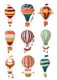 Iconos retros del globo del aire caliente con el modelo, la góndola y las banderas para Bon Voyage o el festival del balón de air libre illustration