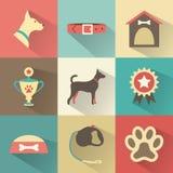 Iconos retros del perro fijados. Ejemplo del vector para el web, Foto de archivo
