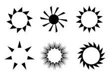 Iconos retros del sol Imagen de archivo libre de regalías