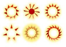Iconos retros del sol Foto de archivo libre de regalías