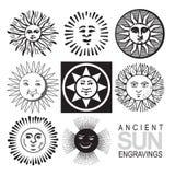 Iconos retros del sol (vector) Imagen de archivo libre de regalías