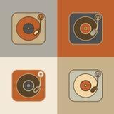 Iconos retros del tocadiscos Imagen de archivo
