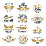 Iconos retros del vector del equipo de la leyenda del aeroplano de la aviación ilustración del vector