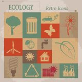 Iconos retros planos del vector de la ecología Imágenes de archivo libres de regalías