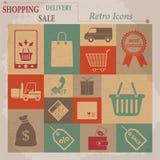 Iconos retros planos del vector de las compras Foto de archivo libre de regalías