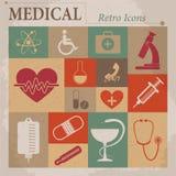 Iconos retros planos del vector médico Fotografía de archivo