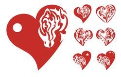 Iconos rojos de los corazones Imagen de archivo libre de regalías