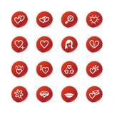 Iconos rojos del amor de la etiqueta engomada Fotos de archivo