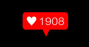 Iconos rojos del amor del número de la cuenta de la animación fijados libre illustration