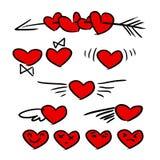Iconos rojos del corazón Fotografía de archivo