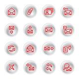 Iconos rojos del email Stock de ilustración