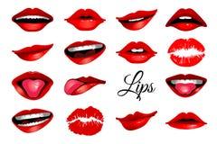 Iconos rojos del labio del ` s de la mujer fijados ilustración del vector