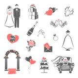 Iconos rojos del negro del concepto de la boda fijados stock de ilustración