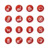 Iconos rojos del teléfono móvil de la etiqueta engomada