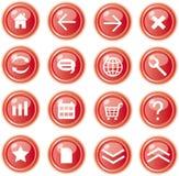 Iconos rojos del Web, botones Stock de ilustración