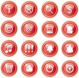 Iconos rojos del Web, botones Imagenes de archivo