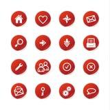 Iconos rojos del Web de la etiqueta engomada
