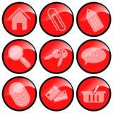 Iconos rojos para el comercio electrónico Imagen de archivo libre de regalías