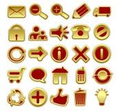 Iconos rojos y de oro del Web Fotos de archivo