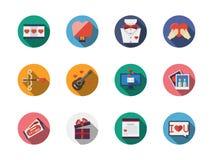 Iconos románticos coloridos redondos Fotos de archivo libres de regalías