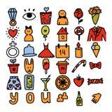 Iconos románticos del garabato del vector stock de ilustración