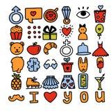 Iconos románticos del vector stock de ilustración